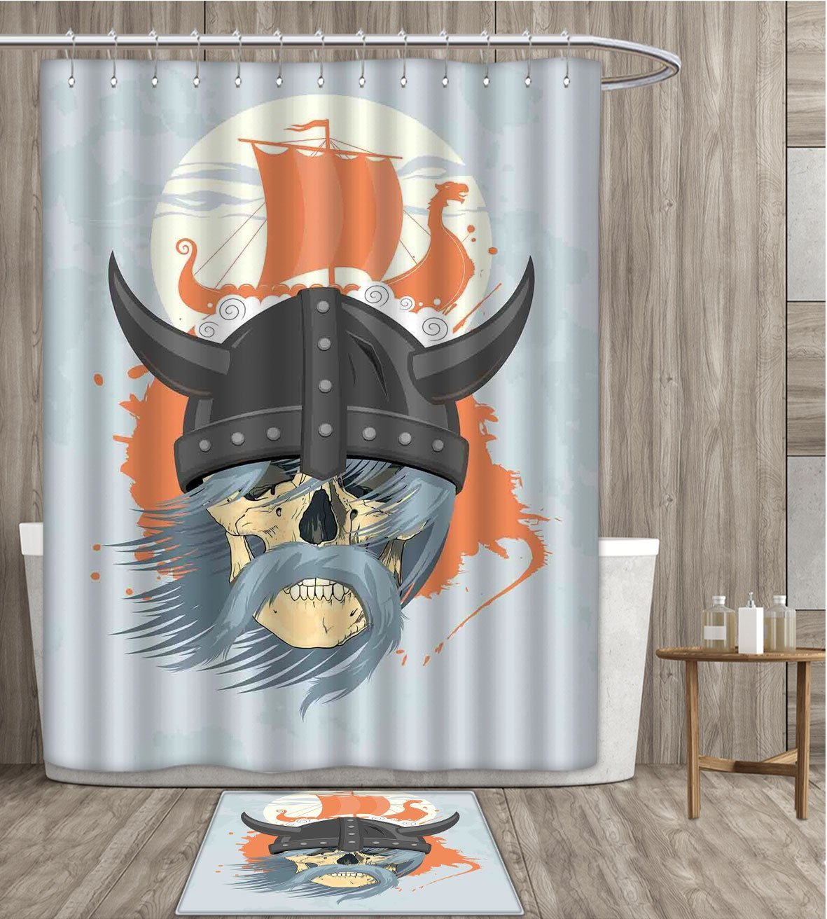 Viking Shower Curtain Sets Bathroom Cartoon Ghost Skull Nordic Combat Norse Mythology Medieval Horns Dragon Head Ship Satin