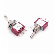 Interruptor de palanca en miniatura rojo MTS-103, Mini interruptor de palanca de 3 pines ON/OFF/ON 3P3T, MTS103 AC 250V/3A 120V/5A