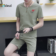 LOLDEAL Men's Chinese Style Casual Short Sleeve Embroidery Maple Leaf Cotton Slim Set Short Sleeve Shorts Set
