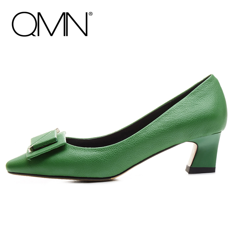 QMN women jewel crystal embellished textured leather pumps Women Square Toe Block Middle Heels Shoes Woman Genuie Leather Pumps qmn women crystal embellished natural suede brogue shoes women square toe platform oxfords shoes woman genuine leather flats