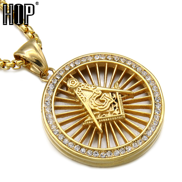 Hip hop bling iced out round crystal gold color titanium stainless hip hop bling iced out round crystal gold color titanium stainless steel freemason masonic pendants necklaces aloadofball Gallery