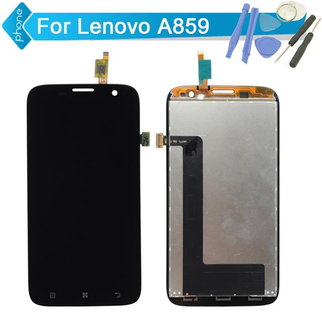 100% probado pantalla lcd con digitalizador de pantalla táctil negro para lenovo a859 de repuesto de la asamblea + herramientas, envío libre