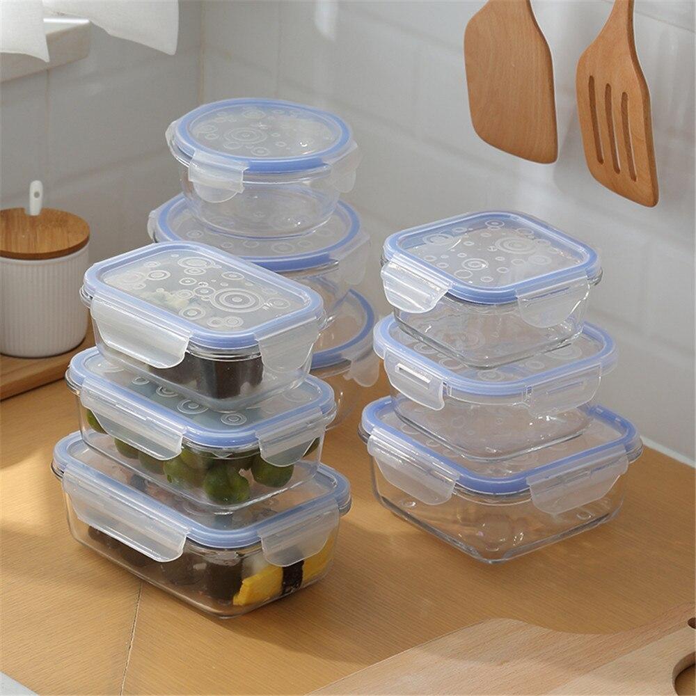 Yaratıcı cam yemek kabı yuvarlak dikdörtgen şeffaf mavi gıda kabı seyahat taşınabilir yetişkinler çocuk öğle yemeği kutusu mikrodalga 1 adet