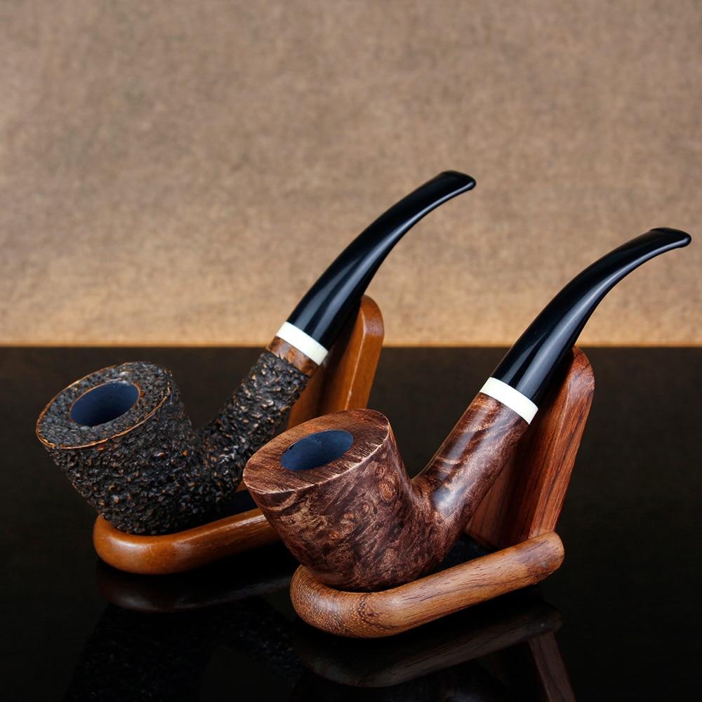 Engrave Briar Pipe Smoking Tobacco Pipe 9mm Filter Smoking Pipe White Ring Mouth Piece Briar Wood