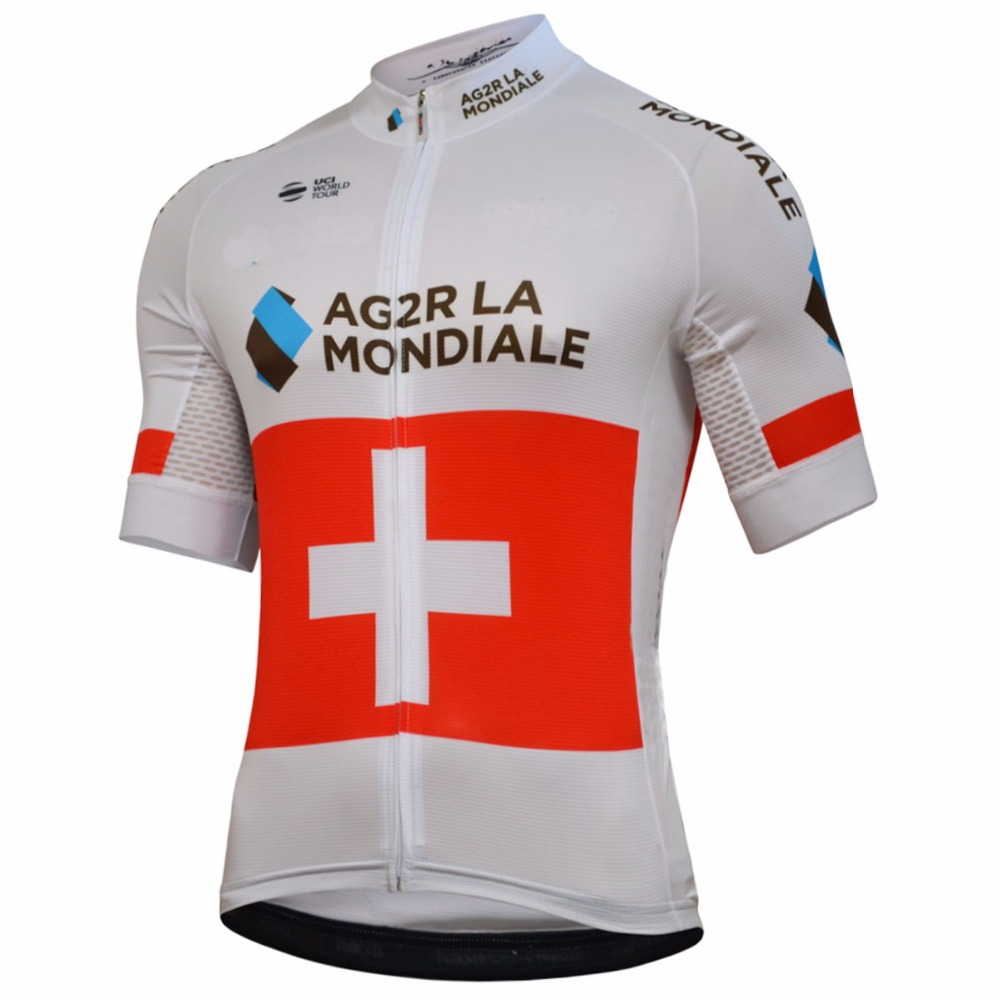 ecbd2a06e 2018 AG2R PRO TEAM SWISS CHAMPION Men s Only Cycling Jersey Short Sleeve Bicycle  Clothing Quick Dry Riding Bike Ropa Ciclismo-in Cycling Jerseys from Sports  ...