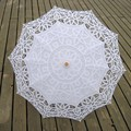 2017 White lace parasol Sun Umbrella Parasol Do Laço Bordado Da Noiva Casamento Guarda-chuva Guarda-chuva Parapluie Ombrelle Dentelle Mariage