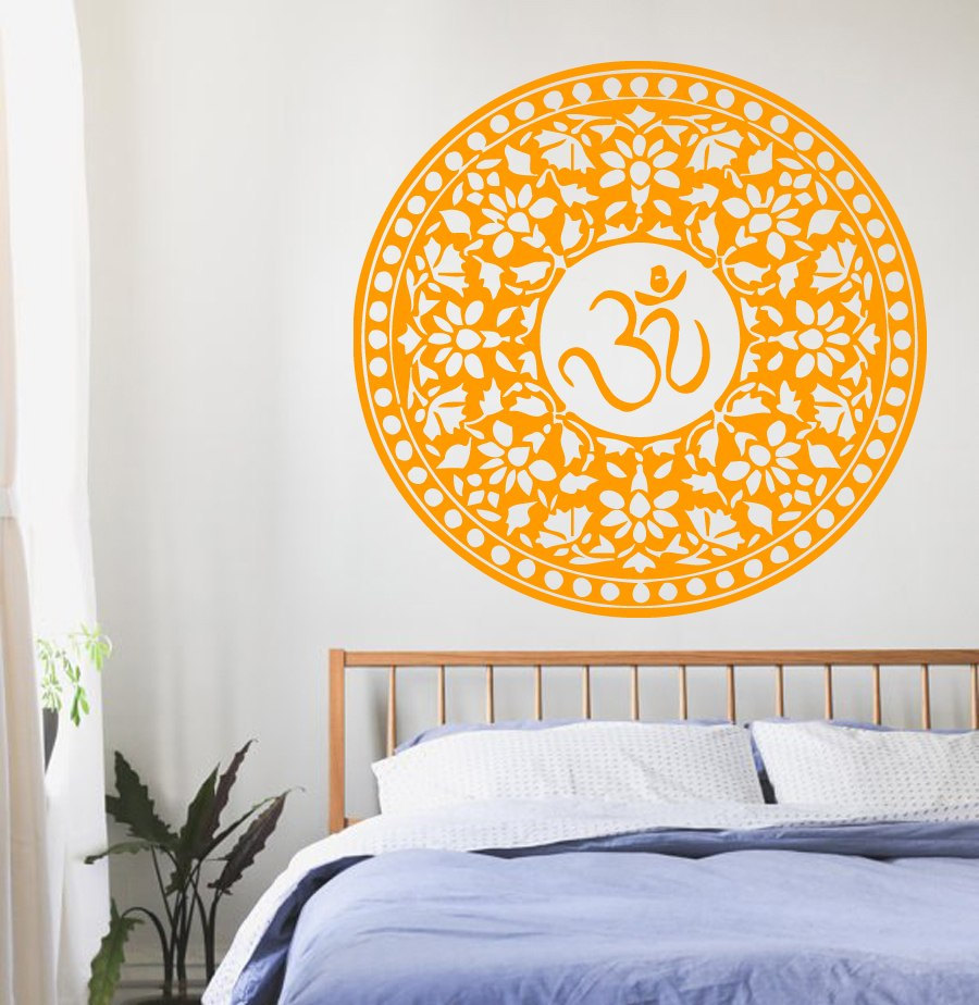 Bohemian Mandala Flower Wall Decal Om Sign Symbol Livingroom Bedroom ...