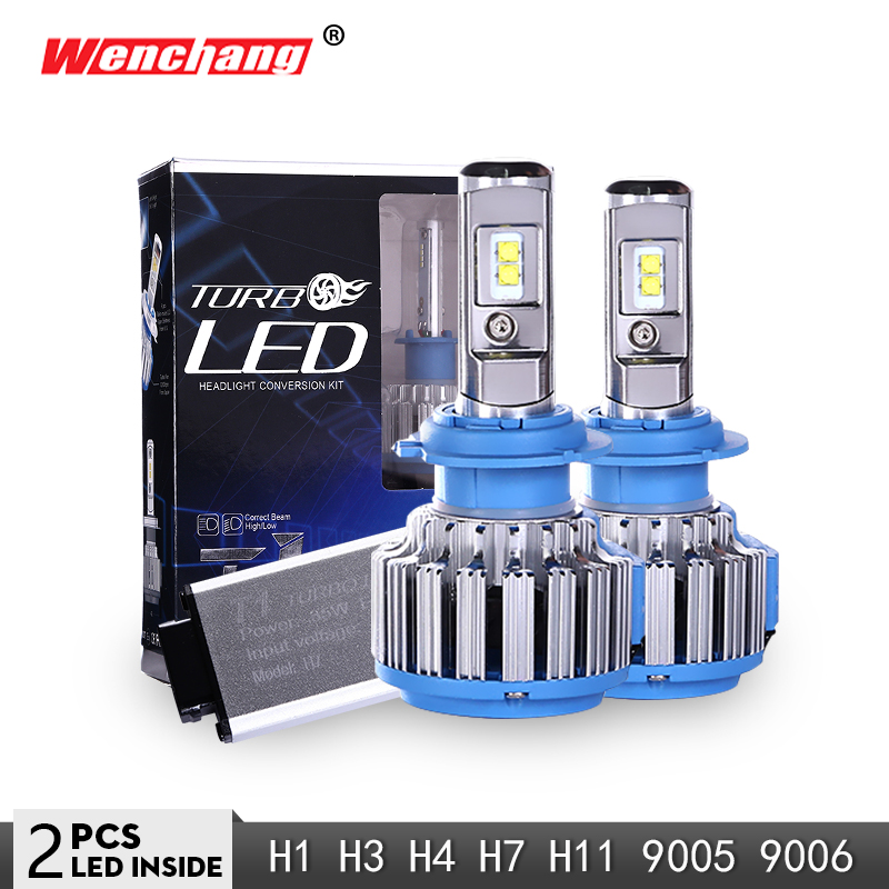 WENCHANG T1 LED COCHE faro bombilla LED Turbo H4 H7 H1 H3 H11 9005 9006 Auto faro Hola/ lo 6000 K 12 V SMD Chip 3000LM