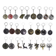 Movie Series Game Of Thrones Keychain Hot Sale The Song Ice and Fire Targaryen Dragon Badges for Men women Car Keyring Gifts