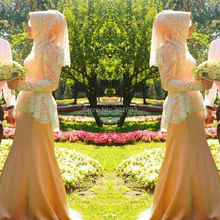 Oumeiya OW305 Pink Satin Ivory Lace Appliques Beaded High Neck Long Sleeve Mermaid Muslim Hijab Wedding Dress 2015