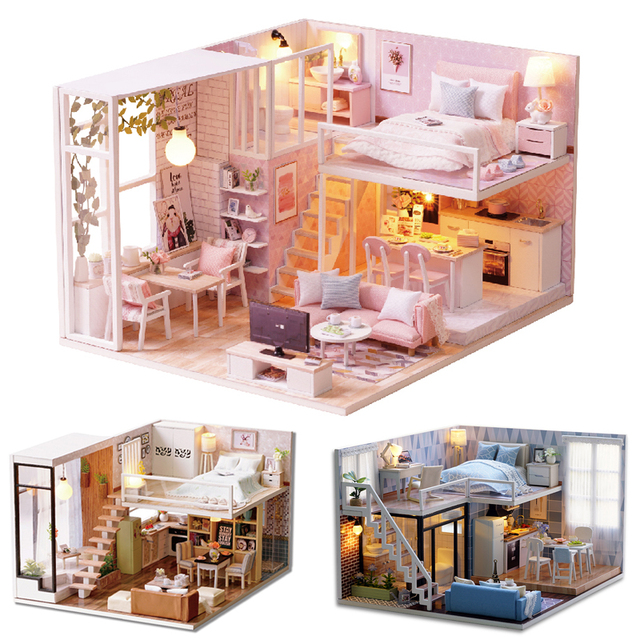 Doll House Casa Diy Miniature Dollhouse Wooden Furniture Dolls Miniatures  Kitchen With Cover DIY Craft Toys