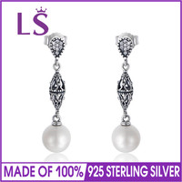 LS Genuine 925 Sterling Silver Freshwater Pearl Dangle Earrings For Women Fashion Jewelry DIY Gift