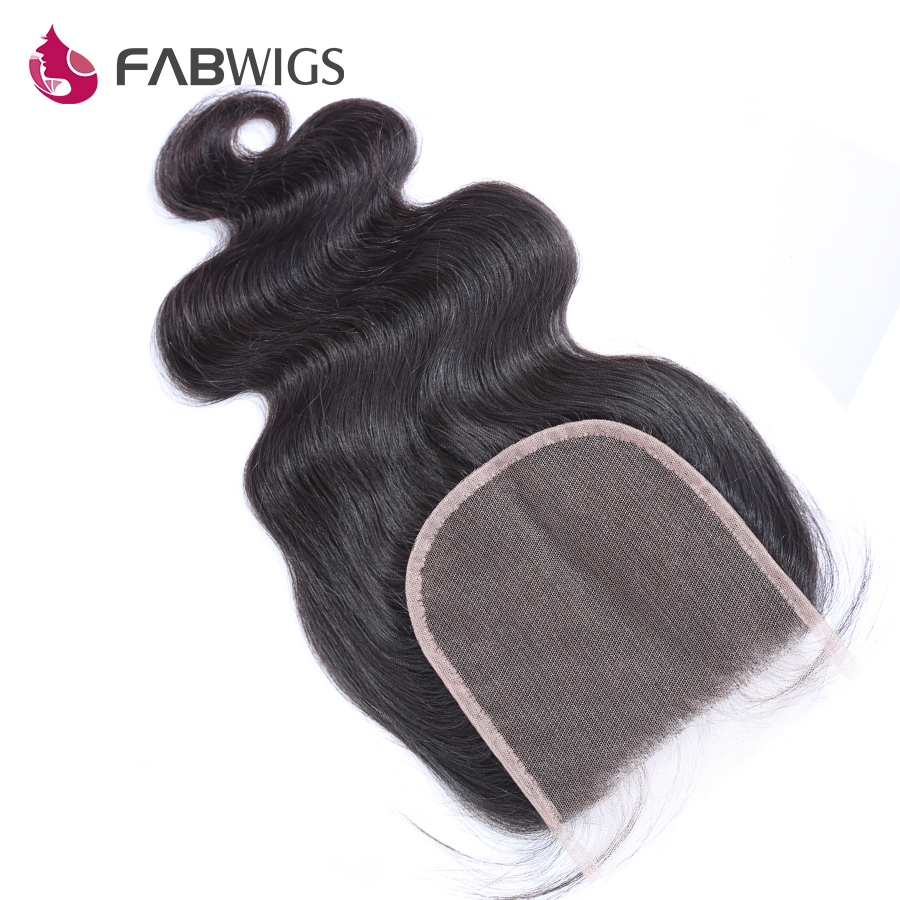 Fabwigs 5x5 Body Wave Lace Closure with Baby Hair Brazilian Hair Closures Bleached Knots Remy Hair Piece Free Shipping