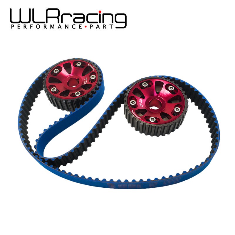 WLR RACING - HNBR Racing Timing Belt Blue + Aluminum Cam Gear Red FOR B18C Integra GSR / Type-R WLR-TB1003B+6532R pqy racing hnbr racing timing belt blue aluminum cam gear red for toyota 1jz 1jzgte 1jz gte pqy tb1005b 6531r