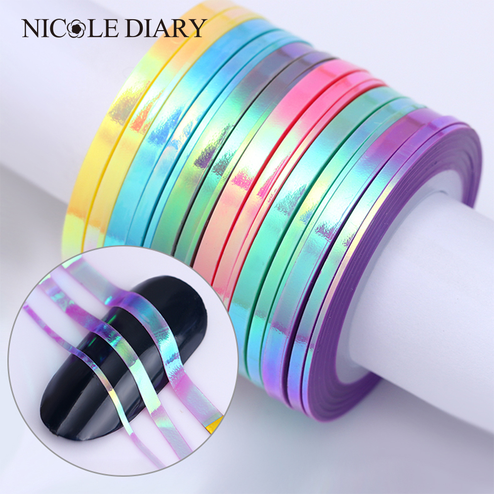 2mm Mermaid Nail Striping Tape Line Gold Silver Laser Multi Patterns Adhesive Nail Sticker DIY Manicure Nail Art Decorations free shipping kapro 810 pro laser nail gripper line laser with nail