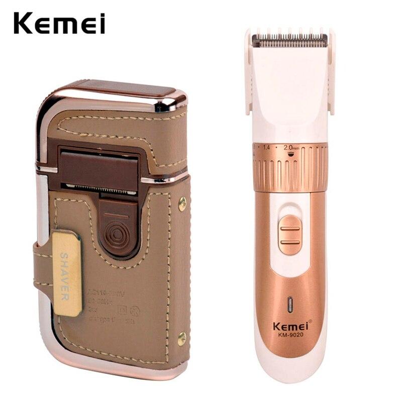 Kemei D'or Électrique Sans Fil Réglable Cheveux Cutter Barbe Trimère + Compact Rechargeable Hommes Foil Rasoir Rasoir Lame Têtes Voyage