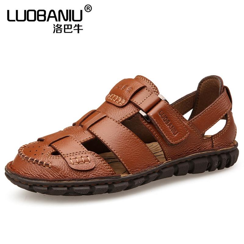 """Vasaros naujų vyrų sandalai, odos kvėpuojanti minkšta dugno susidūrimo galva, """"Anti-skid"""" dėvėti rubbe vyriški laisvalaikio paplūdimio batai"""
