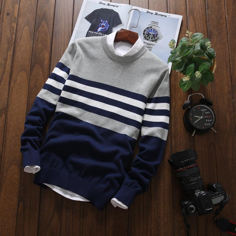 Men 'S Sweater Striped Pattern Comfy Breathable Sweater  Men's Autumn And Winter Fashion Leisure Long Sleeve Round Neckline