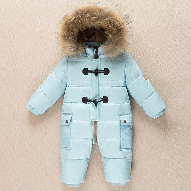 Детские snowsuit новые зимние детские мальчики цельный наряды енота меховым воротником с капюшоном тепловой малыша девушки комбинезоны снег износ