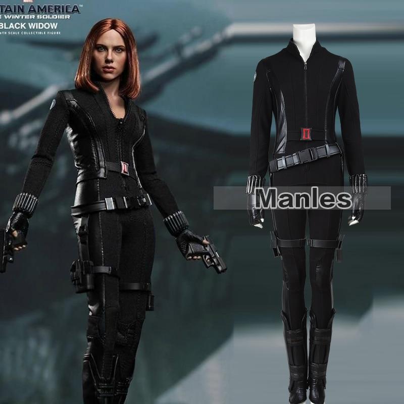 Movie Captain America 2 The Winter Soldier Black Widow Natasha Romanoff Cosplay Costume Halloween Fancy For