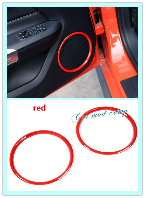 New! For Ford Mustang 2015-2017 ABS Interior Inner Side Door speaker frame cover decoration trim 1 pair stainless steel interior decorative car door handle cover with 3m double sided tape for 2015 2016 new ford mustang