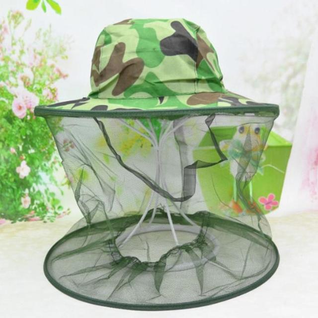 Outdoor Camouflage Anti Mosquito Fishing Hat With Net Mesh Head Cover Fisherman Hat Beekeeping Camping Mask Face Protect Caps