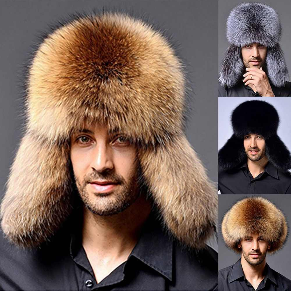 ace7b03ad1366 2019 Winter Men s Faux Fur Hat Russian Warm Thick Ushanka Bomber Aviator  Trapper Male Outdoor Ear