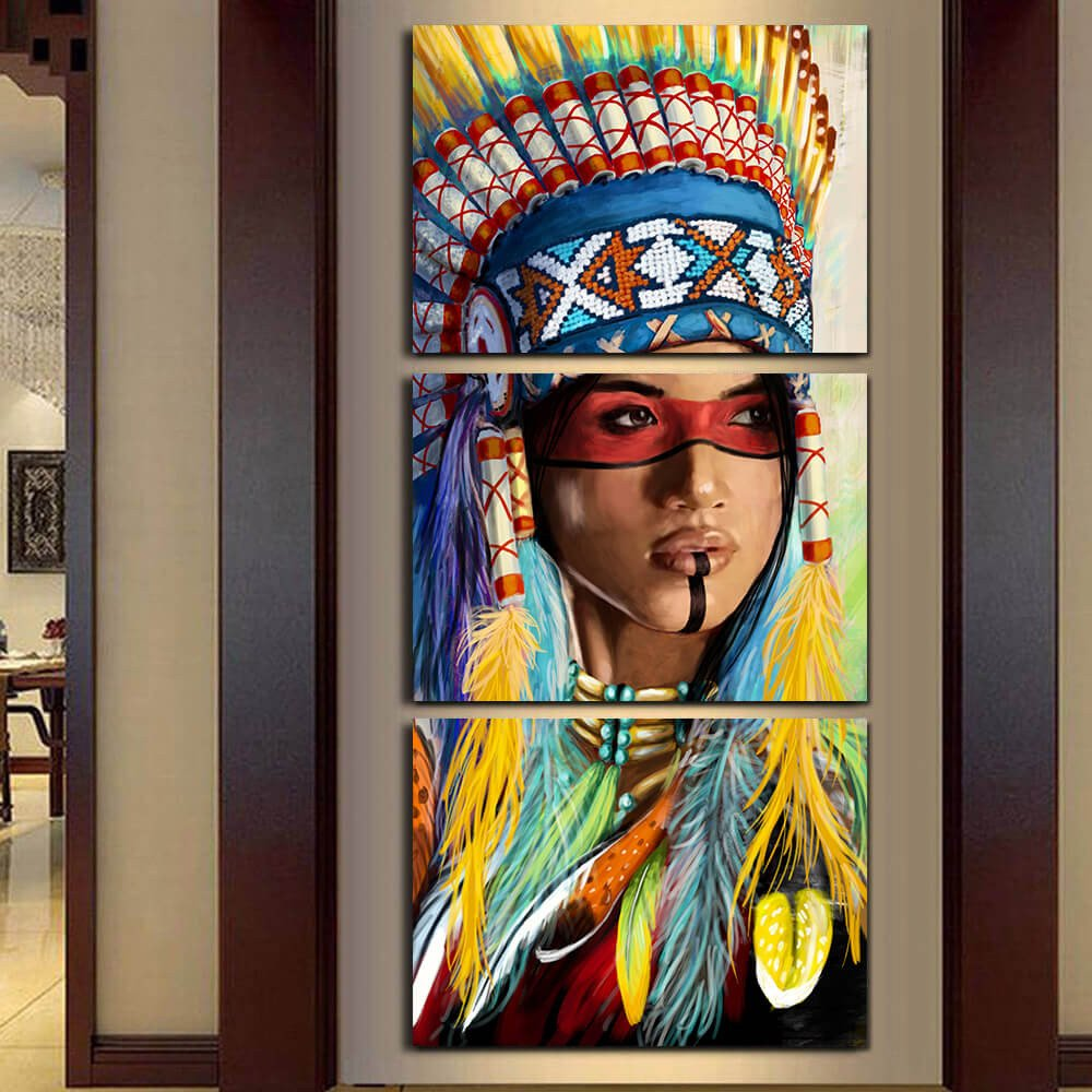 Modern frame 3 panel native american indian girl feathered - Wall sculptures for living room india ...
