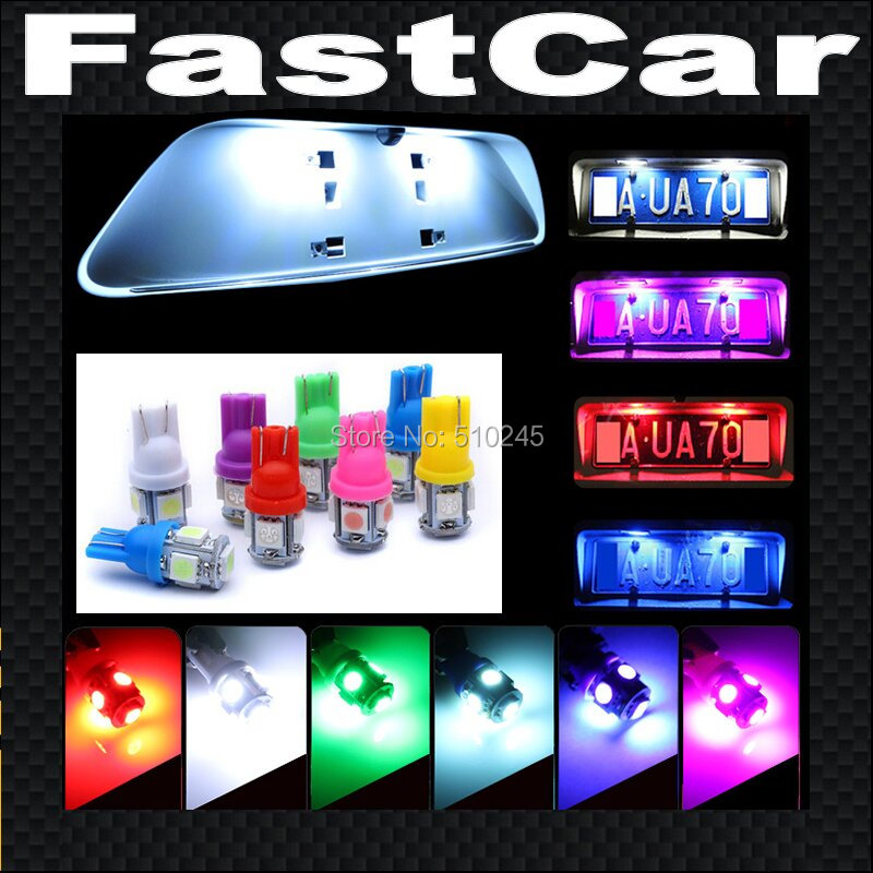 20X High quality Car Auto LED T10 5 led 194 W5W smd 5050 Wedge Side Light parking Bulb Lamp 5SMD White/Green/Blue/Red/Yellow