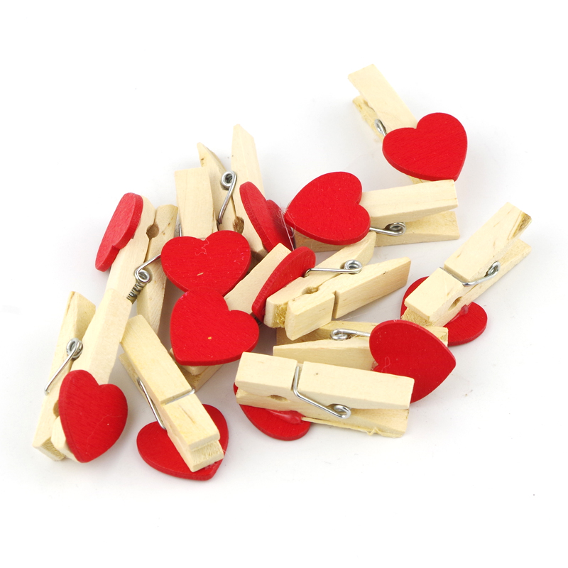 50pcs Mini Wooden Photo Paper Clip Red Hearts Clothing Clip DIY Wood Craft Home Decor Accessores