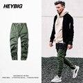 Hip hop Hombres Temen A Dios Machete Basculador Pantalones HEYBIG Calle Marca de Moda pantalones de Chándal Ropa de Calle de La Moda Verde Del Ejército Militar