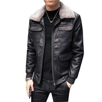 2019 New Korean Style Black Faux Leather Jacket Men Slim Fit Multi-pocket Wool Liner Collar Winter Warm Mens Windbreakers Coat