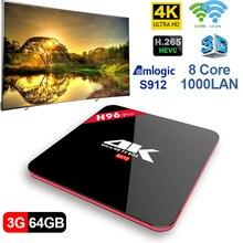 TV Box 3g 64g Amlogic S912 Octa Core CPU DDR4 2.4g + 5.8g doppio di WiFi Android 7.1 set Top Box Media Player
