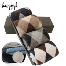 Calcetines de lana supergruesos para hombre, calcetín de compresión, cálido, con rizo de diamante, 4 par/lote, para invierno, envío gratis
