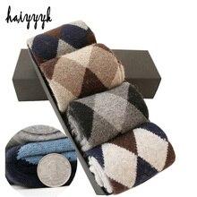 Inverno super grosso meias de lã masculina compressão quente meias de diamante terry 4 pares/lote grátis shippin