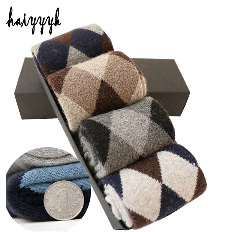 Winter Super-Thick Wollsocken Herren Kompression Warme Herrensocken Diamond Terry Socken 4 Paar / Lot Free Shippin