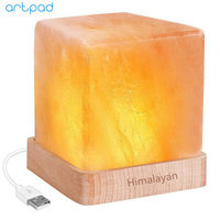 Artpad USB Rechargeable LED MINI Natural Himalayan Crystal Salt Lamp Air Purifier Cube Night Light With