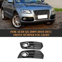 ABS Car Chrome Trim Full Rings Front Bumper Matt Black Lower Side Fog Light Grill For