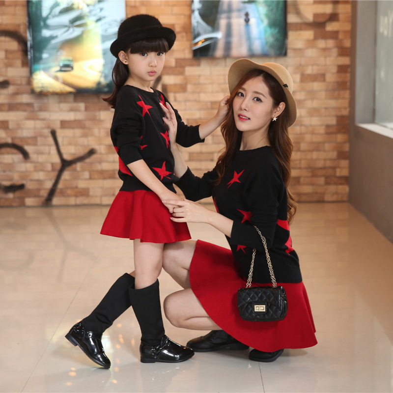 matching mother daughter clothes set family look red long