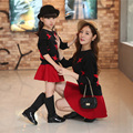 Matching Mother Daughter Clothes Set Family Look Red Long Sleeve Sweater Mommy and Me Clothes Lose Autumn Family Outfit Skirt