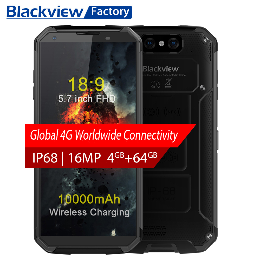 BLACKVIEW BV9500 IP68 waterproof 5.7″18:9 FHD Smartphone 4G Android 8.1 4G+64GB 10000mAh wireless charging NFC mobile phone GPS