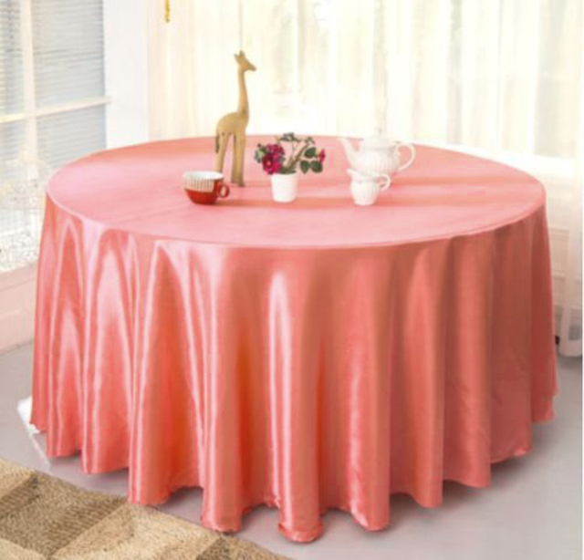 Superbe 120 Inch Round Peach Color Table Cover For Wedding Party Restaurant Banquet  Decorations 10pcs Satin Tablecloths