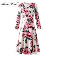 MoaaYina Fashion Designer Runway Dress Autumn Women S Long Sleeves Printing Rose Embroidery Bead Slim High