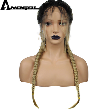 Anogol Long Double Braids High Temperature Fiber Dark Roots Ombre Blonde Synthetic Braided Lace Front Wig With Baby Hair Wigs