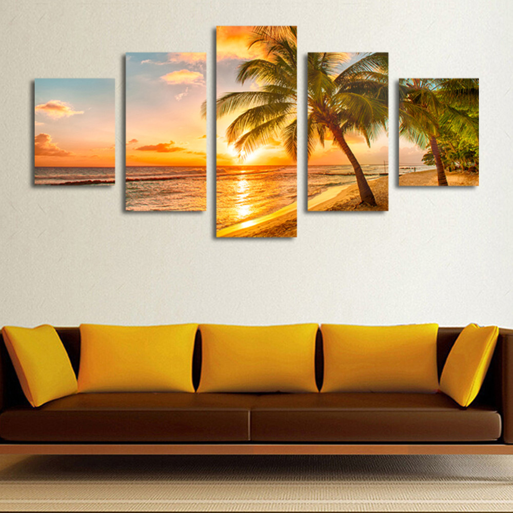 5 Pieces Framed Sandy Beach Wall Art Picture Gift Home