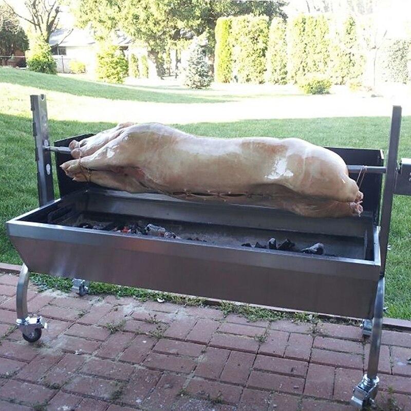 """46 """"สแตนเลสบาร์บีคิวย่างถ่าน Pig Spit เครื่องปิ้งขนมปัง Rotisserie บาร์บีคิว 110 V/220 V จัดส่งฟรี-ใน เครื่องมือทำบาร์บีคิวอื่นๆ จาก บ้านและสวน บน   1"""