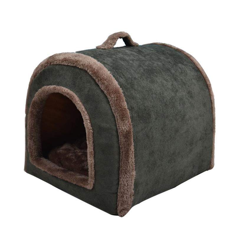 Pet Dog Cat Warm House Winter Super Soft Velvet Home Pet Bed Cute Nest For Puppy Indoor Dog House Bed Lovely Pet Kennel image