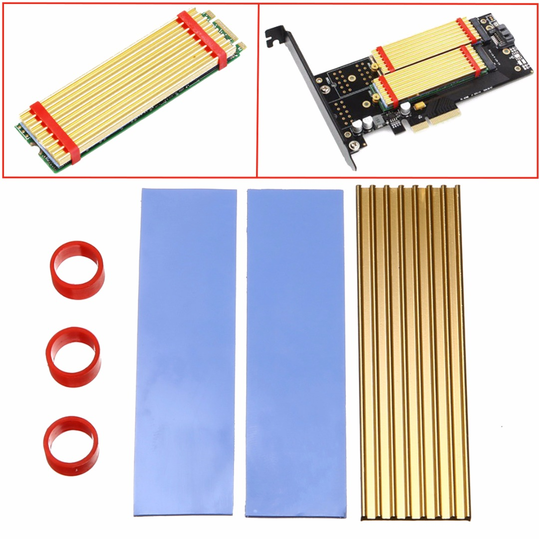 Heat Dissipation Aluminum Heatsink NGFF 2280 Detachable Heat Sink Thermal wafers For SM961 960PRO NVMe SSD 71mm*21mm*3mm Mayitr