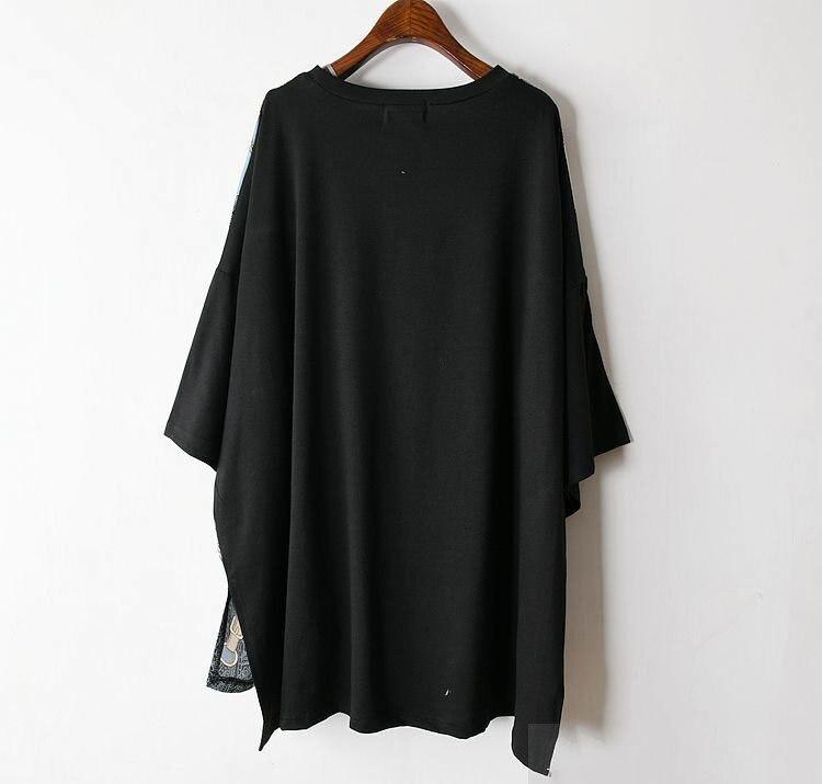 Long Women Europe Fashion 2019 Spring Summer O-neck Short Sleeve T-shirt Female Patchwork Casual Irregular Tee E470 14