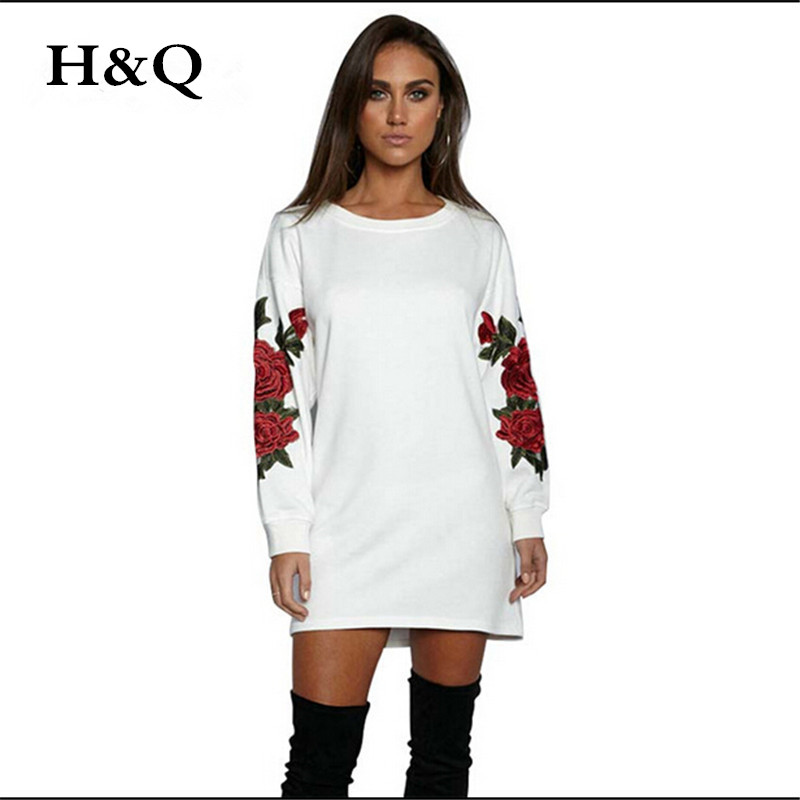 2017 New Floral Women Fashion Loose Embroidery Rose Design Round-Neck Sweatshirt Long Sleeve Causal Tops U1BLJJ1528